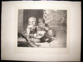 After Christian Leberecht Vogel C1840 LG Folio Print. The Brothers. Children